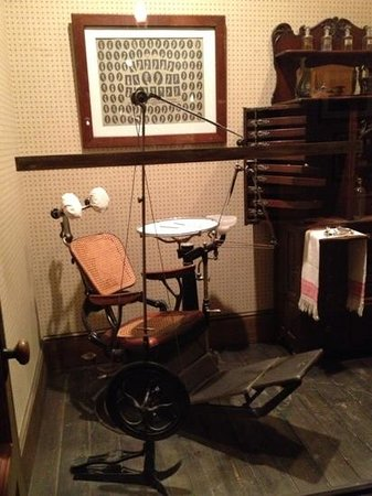 Evansville Museum of Arts, History & Science: Dental equipment from the turn of the 19th century was originally used by Dr. Anna Cluthe, Evans