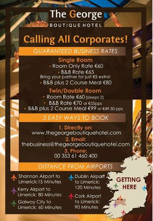 The George Limerick: Calling al Corporates to The George Boutique Hotel, Limerick City