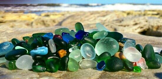 Durham, UK : seaglass from Seaham beach