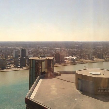 Detroit Marriott at the Renaissance Center: View of Windsor from the 58th floor.