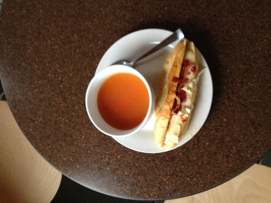 Haven Coffeebar: From scratch soup and wheat-free panini sandwich from bread made in the onsite bakery