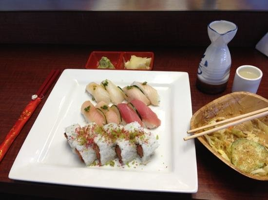 Sushi lounge & steakhouse: Chef's Choice with Saki and dinner salad.