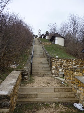 Magyarpolany, Hungary: The staircase going up to the peak