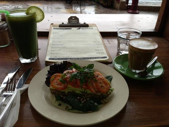 Ground Organic Living food Cafe: detox juice almond milk latte and bruschetta