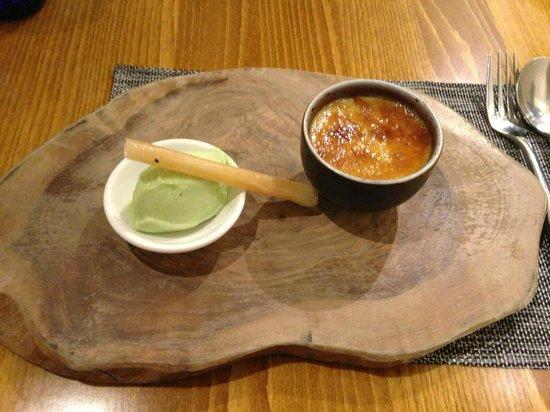 Lemon verbena cream pot, apple jam & sorbet