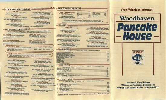 Woodhaven Pancake House Menu as of March 2013 page 1