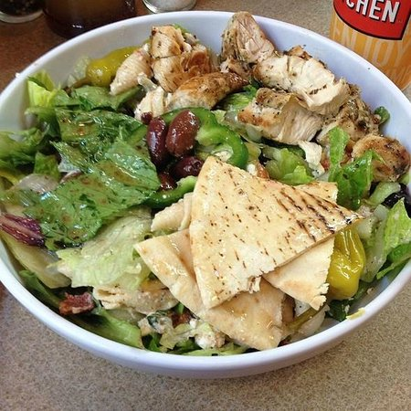 Zoes Kitchen: Greek Salad With Chicken And Pasta Salad...Yum!