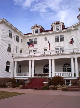 Stanley Hotel: This is a view of the hotel front porch.  Room 415 is the gabled window on the left atop the hot