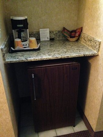 Abbey Inn & Suites: Mini fridge in a 2-queen-bedroom