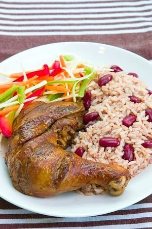 Tim Bamboo: Jamaican Dinner- Jerk Chicken with Rice & Peas