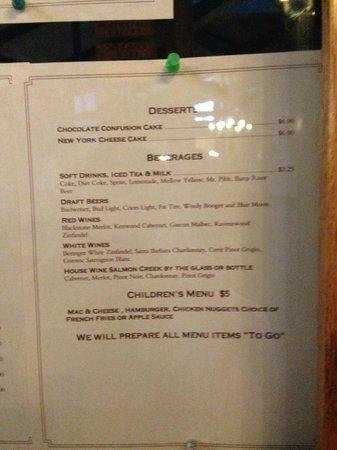 Silver Creek Steakhouse: menu