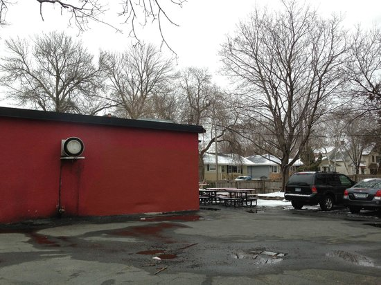 "Uncle Franky's: the parking lot and ""outdoor seating"""