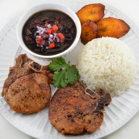 Sofrito Mama's: Pork Chops with White Rice, Black Beans, & Sweet Plantains