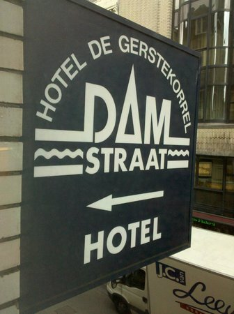 Hotel De Gerstekorrel: Hotel sign seen from room.