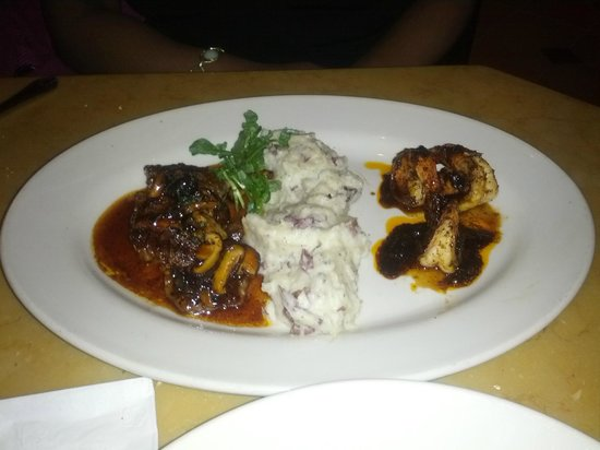 The Cheesecake Factory: Diane Staek, Black pepper shrimp with mashed pots.