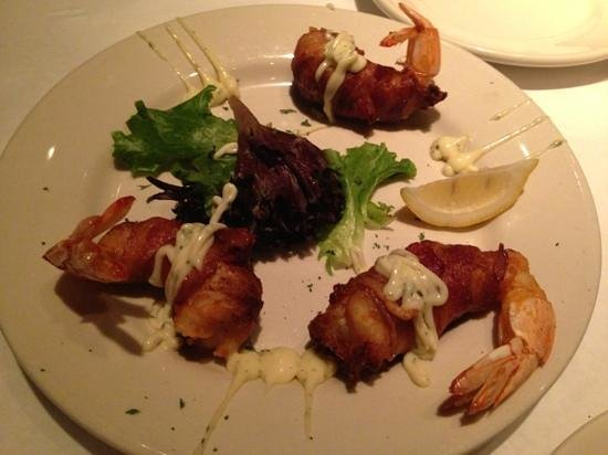 Two Rivers: Bacon wrapped seafood stuffed shrimp