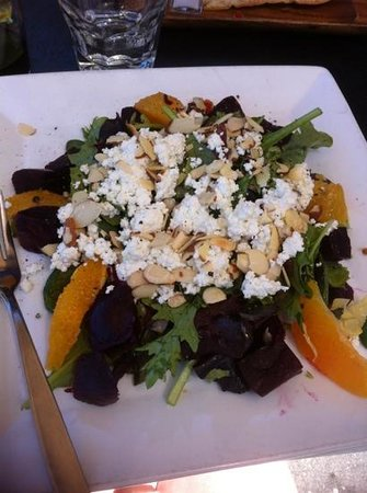 Sugo: amazing favors in beet citrus & goat cheese salad