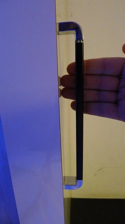 Wink Hostel: Ladder handle in pod room - extends just one knuckle in length.