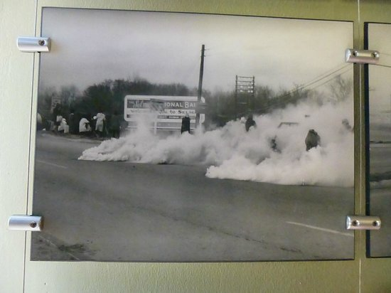 National Voting Rights Museum and Institute: Photo of police rioting and gassing peaceful marchers.