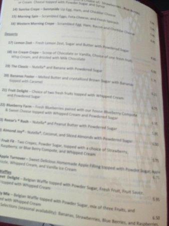 part of the menu