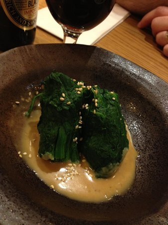 Toku Restaurant: starter: spinach with delicious sauce