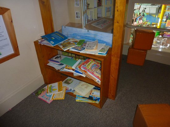 Eureka! The National Children's Museum: lots of books are torn ,falling apart, may be have boxes to put the books in.
