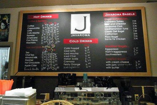 Javaroma Gourmet Coffee & Tea: The coffee & drinks menue