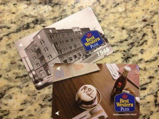 Best Western Plus Hollywood Hills Hotel: Магнитные ключи от номера