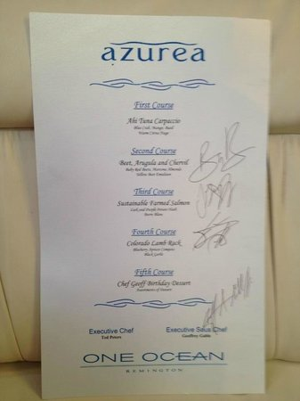 Azurea at One Ocean: Special 5 course sampler menu which may be matched with wine that compliments each course.