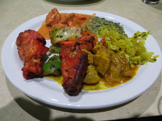 Red Onion Indian Bistro: a plate of chicken tandoor, sag paneer...