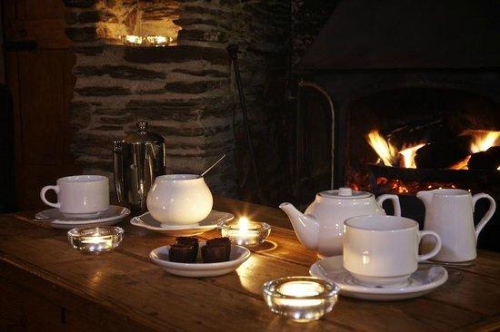 The Laughing Monk Restaurant: log burner