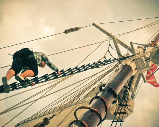 Schooner Manitou: Crew member going aloft