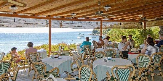 Chorto, اليونان: Bar restaurant with sea view