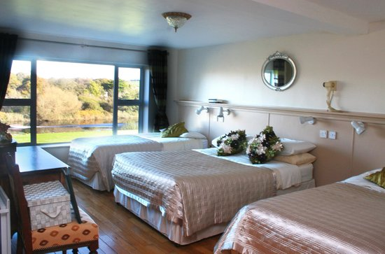 Riverside House: one of our large family ensuite bedrooms and a view over looking the river