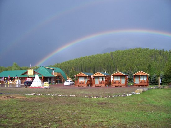 Glacier General Store and Cabins: Rainbow on Desert Mt behind Resort