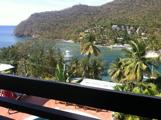 Marigot Palms Luxury Caribbean Guesthouse and Apartments: View looking down to the Bay