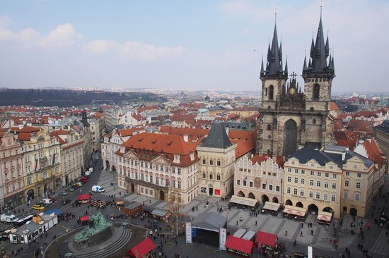 Retezova Apartments: Old Town Square. View of the Tyn Church from the top of the Astronomical Clock