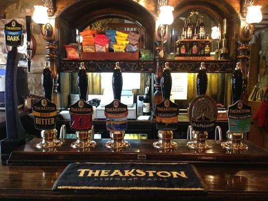 Theakston Brewery: A tempting line-up after the tour.
