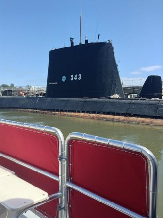 Charleston Water Taxi: Submarine in USS Yorktown Museum, seen from Water Taxi
