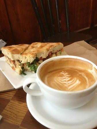 The Rookery Cafe: Veggie panini and cap