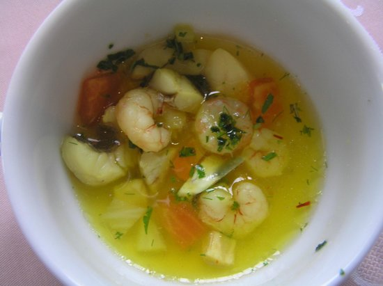 Hotel Miramar : Fish soup which was made by Arthur berger, under his course of cooking for hotel gusets. Appr
