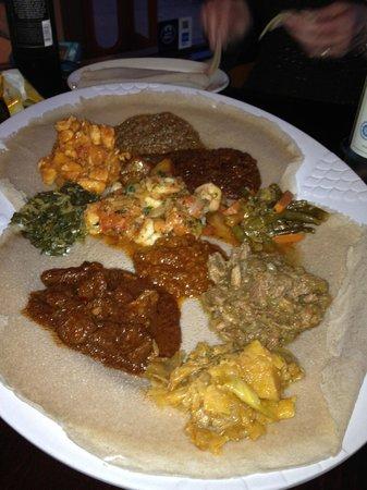 Mesob Ethiopian Restaurant: Meat Sampler with 3 vegetable sides