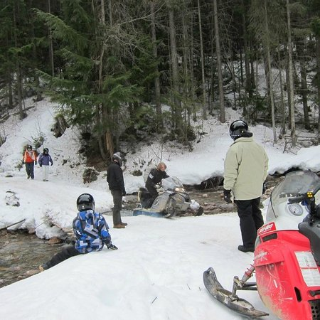 Rocky Mountain Riders Snowmobile Tours and Rentals: The group took turns crossing the bridge
