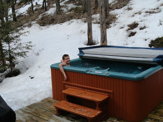 Wayward Chalet: Loved the hot tub looking into the natural surroundings!