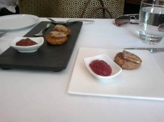 Indian Accent : Foie Gras Stuffed Galawat, Strawberry Green Chilli Chutney- to die for!