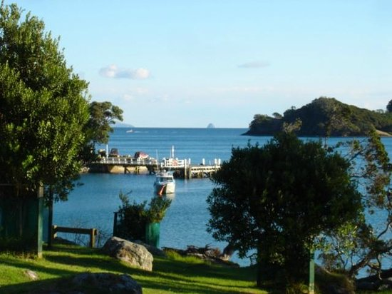 Whangapara, New Zealand: View from lodge towards wharf