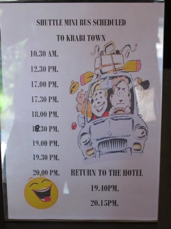 Baan Andaman Hotel Bed & Breakfast: Shuttle service schedule to Krabi town