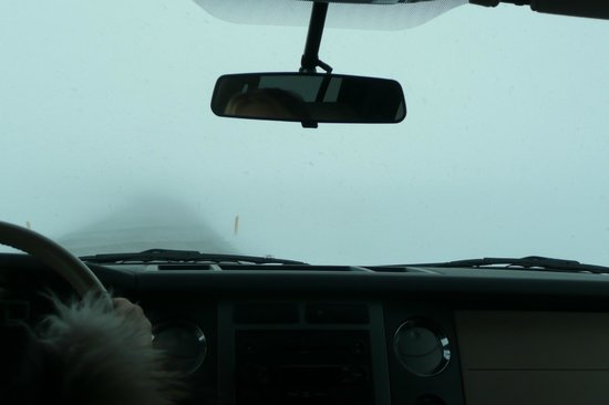 Iceland Horizon: driving through snowstorm