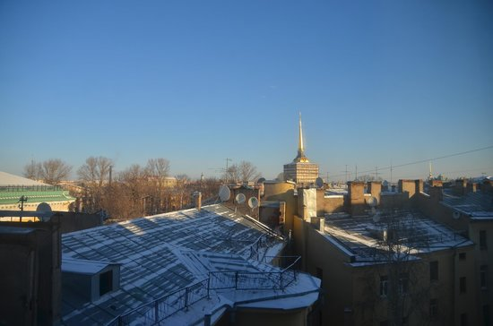 W St. Petersburg: View from my room. Can see the Admiralty Building, Peter and Paul Fortress, and the Hermitage.