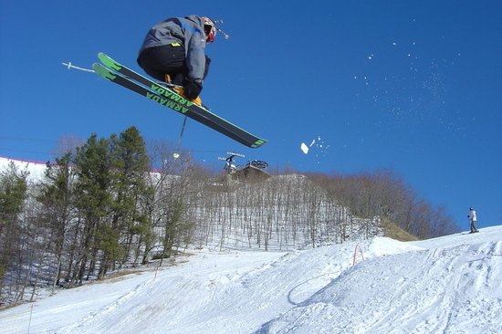 Caberfae Peaks: Catching some air in the terrain park